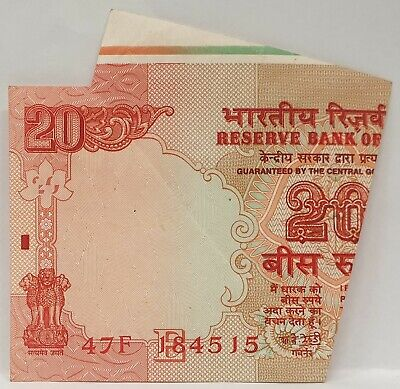 India 1996 ... 20 Rupees ... Misprint / Error Note ...  Miscut