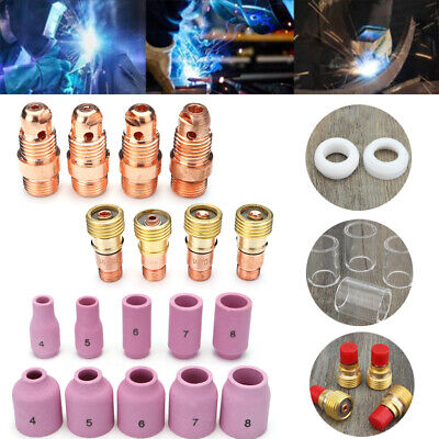 49PCS Sets TIG Welding Torch Stubby Gas Lens #10 Pyrex Glass Cup For WP-17/18/26