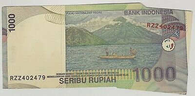 Indonesia 2000 ... 1000 Rupiah ... Misprint ...  Miscut Off Press