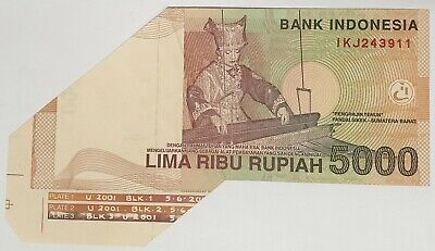 Indonesia 2001 ... 5000 Rupiahs ... Misprint / Error  Miscut/ Folded