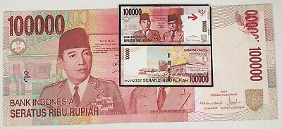 Indonesia 2004 ... 100,000 Rupiah ... Misprint/ Error Wet Ink Transfer