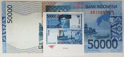Indonesia 2005 ... 50,000 Rupiah ... Misprint/ Error Missing A Set Of Serials