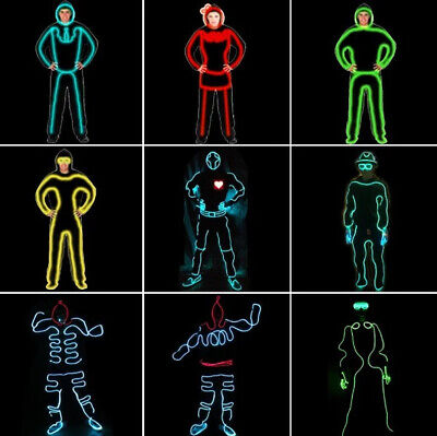 2pc EL Wires Neon RGB Color Lights LED Stick Figure Costumes Stage Luminous S8N1