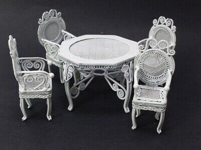 Dollhouse Miniature Patio Set White Wire Table 4 Chairs 1:12 Scale Fairy Garden
