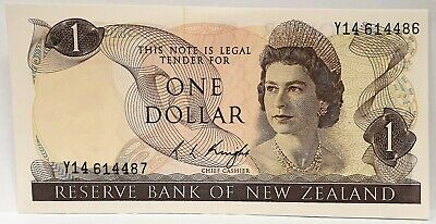 New Zealand 1975 ... 1 Dollar ... Misprint/ Error Note ... Mis-Match Serials