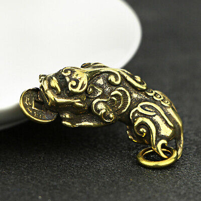 Chinese Old Collectibles Mini Pixui God Beast Pendants Pure Brass Home Decors
