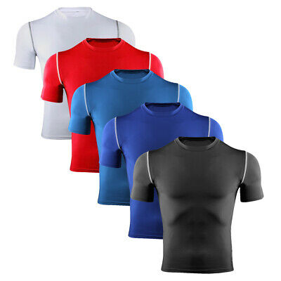 Mens Skins Compression Shirt Short Sleeve Base Layer Top Runinng Tights Gym Wear