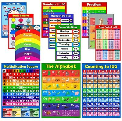 COLOURFUL EDUCATIONAL POSTER PACK of 12 for Kids Learning Charts