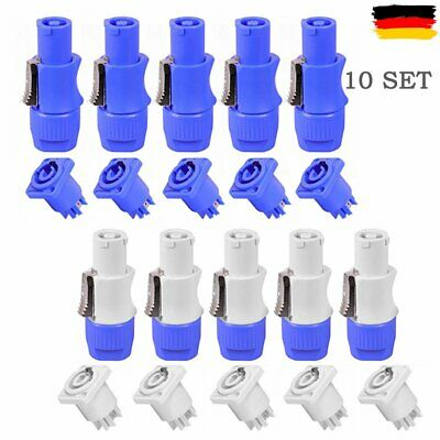 10 Satz PowerCON Typ A NAC3FCA + NAC3MPA-1 Chassis Gehäuse Stecker Panel Adapter