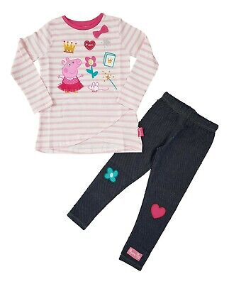 Girls Peppa Pig Outfit 2 Piece Set Top & Leggings Jeggings Long Sleeve BNWT 2-7y