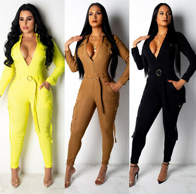 NEW Stylish Women's Long Sleeves Solid Color Zipper Bodycon Club Long Jumpsuit