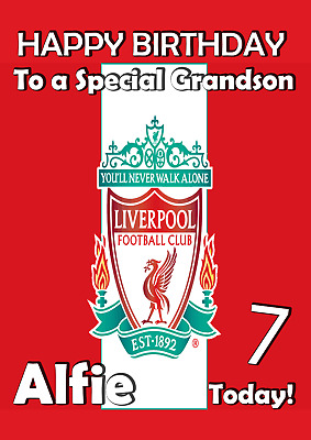 Liverpool Football Club Personalised Birthday Card Any Age/Name/Relation