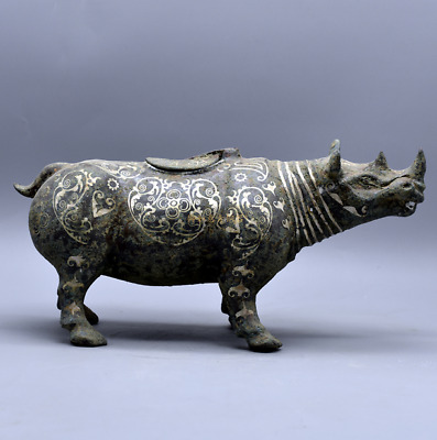 Collections chinese Warring States Bronze inlaid silver Cow statue