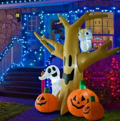 HOMCOM 7.5' Tall Outdoor Lighted Airblown Inflatable Halloween Decoration -...