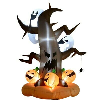 HOMCOM 8ft LED Outdoor Halloween Inflatable Decoration - Dead Tree with Ghost on