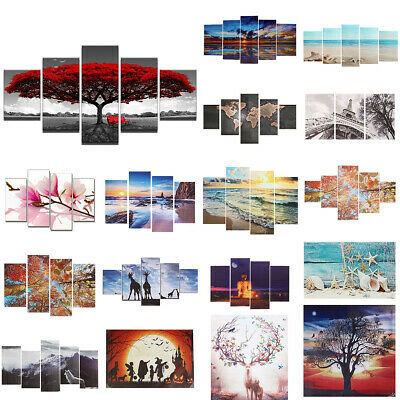 5 Panels Modern Canvas Art Oil Painting Picture Room Wall Hanging Decor UK