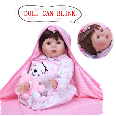 Cute 22inch Reborn Dolls can Blink Soft Silicone Lifelike Toddler Baby Xmas Gift