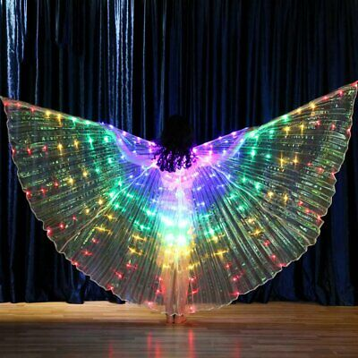 LED Colored Wings Butterfly Glow Belly Dance Props Performance Stage