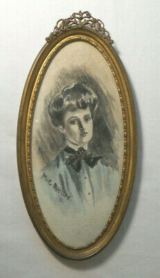small Antique Hand Painted Watercolor Portrait Victorian Lady~Brass Frame 6.5""