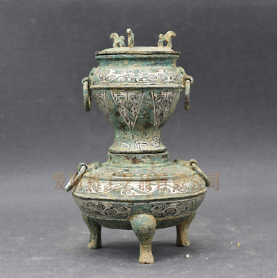 Collections chinese Warring States Bronze inlaid silver furnace