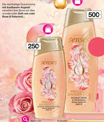 AVON Brandneu Senses Precious Shower Oils Scarlet Rose & Patchouli 750 ml NEU