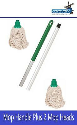 Professional Colour Coded Mop Handle and 2 16oz  Mop Heads Green