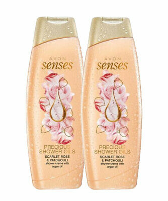 AVON Brandneu Senses Precious Shower Oils Scarlet Rose & Patchouli 2 x 250 ml