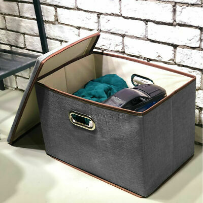 Foldable Fabric Storage Box with lid Drawer Toys Clothes Shoes Wardrobe Organise