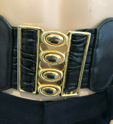 Elasticated Black Wide 60'S Retro Belt 4 Pronged Gold Clasp Vintage Funky Disco