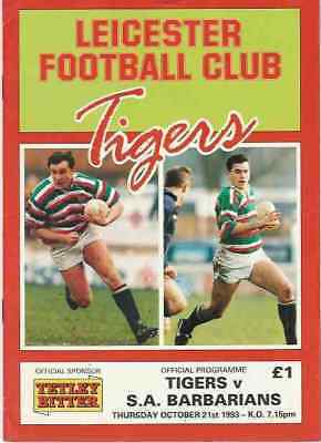 LEICESTER v SOUTH AFRICAN BARBARIANS 1993 RUGBY PROGRAMME