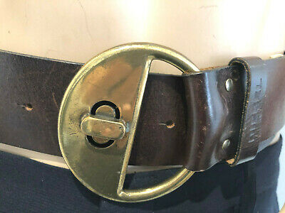 60'S Diesel Wide  Vintage Belt Brown Leather Gold Circle Clasp 30 - 34Inch