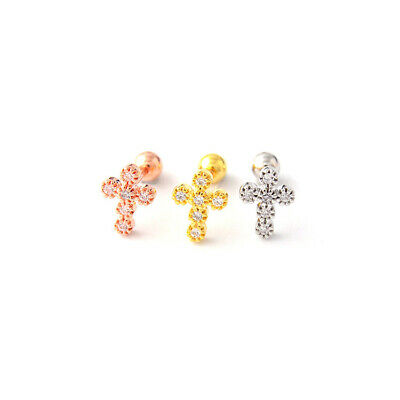 Surgical Steel CZ Cross Cartilage Tragus Bar Barbell Stud Earing Piercing Helix