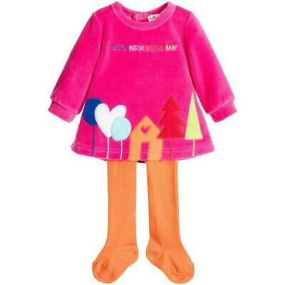 Agatha Ruiz De La Prada Girl's Designer Velour Dress & Tights Set 3 or 4 years