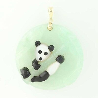 Panda Pendant - 14k Gold Carved Jadeite, Mother of Pearl, & Black Nephrite Jade