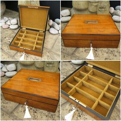 Lovely 19C Antique Olivewood Jewellery Box  Fab Interior