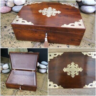 WONDERFUL LARGE 19c ELM ANTIQUE DOCUMENT/JEWELLERY BOX  FAB INTERIOR