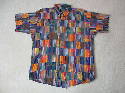 VINTAGE Ralph Lauren Chaps Button Up Shirt Adult Extra Large Patchwork Mens 90s