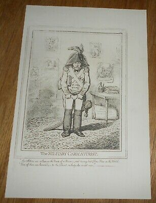 c1847 Antique Caricature Print by James Gillray The Military Caricaturist