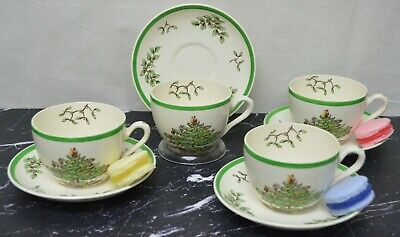 Set of 4 Tea Cup and Saucers in Spode Christmas Tree Pattern Old mark