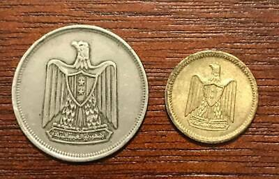 Egyptian coins a 10 piasters since 1967 and a 2 Milims since 1962 a rare coins .