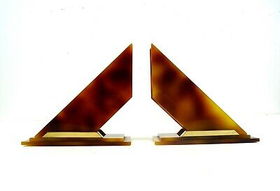 Original French Avantgarde Art Deco Geometric Bakelite Catalin Bookends