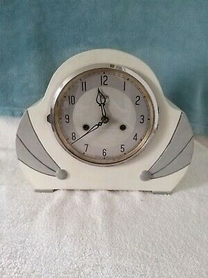 A ART DECO SMITHs OF ENFIELD MANTEL CLOCK IN WHITE