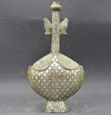 Collections Chinese antiques ancient bronze inlaid silver Double fish bottle