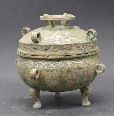 """7.80""""Collections Chinese antiques ancient bronze inlaid with silver vessel"""