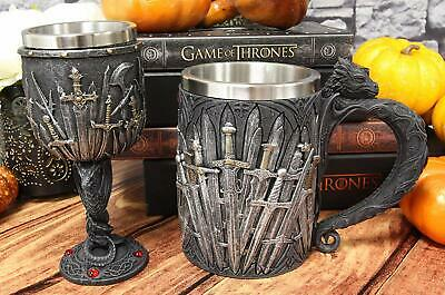 Set of 2 Medieval Valyrian Steel Swords Wine Goblet And Dragon Iron Throne Mug