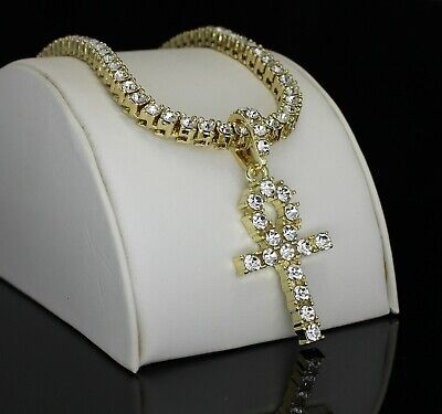 Icy Ankh Pendant Medallion Tennis Necklace Set 14k Gold Plated Hip Hop Jewelry