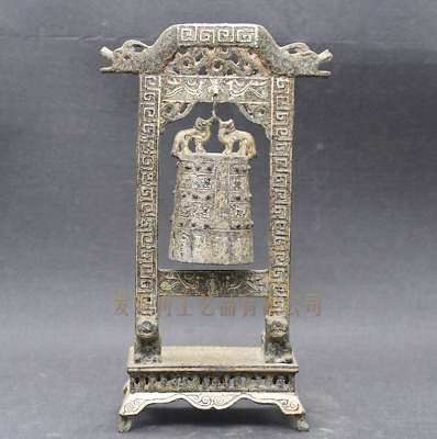 """14.17""""Collections Chinese antiques ancient bronze inlaid silver Chimes statue"""