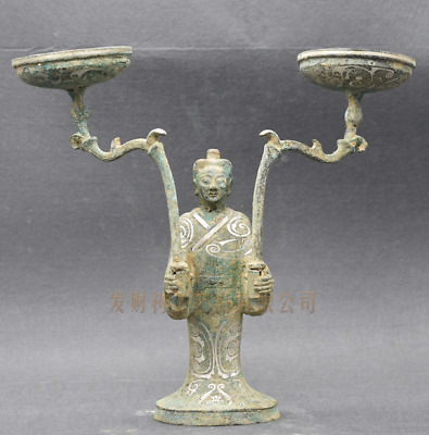 Collections Chinese antiques ancient bronze inlaid silver human lampstand statue