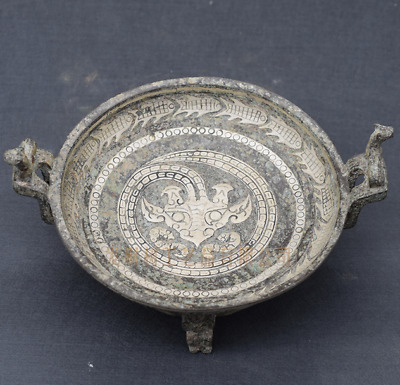 Collections Chinese antiques ancient bronze inlaid silver fish basin vessel