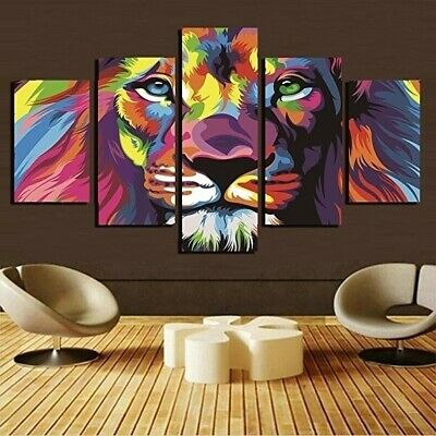Lion King Animal Colorful Living Room Canvas Home Poster Decoration Frameless